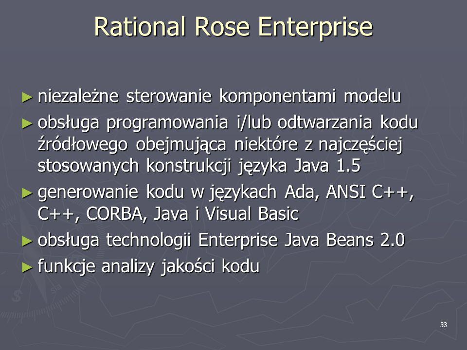 33 Rational Rose Enterprise ► niezależne sterowanie komponentami modelu ► obsługa programowania i/lub odtwarzania kodu źródłowego obejmująca niektóre