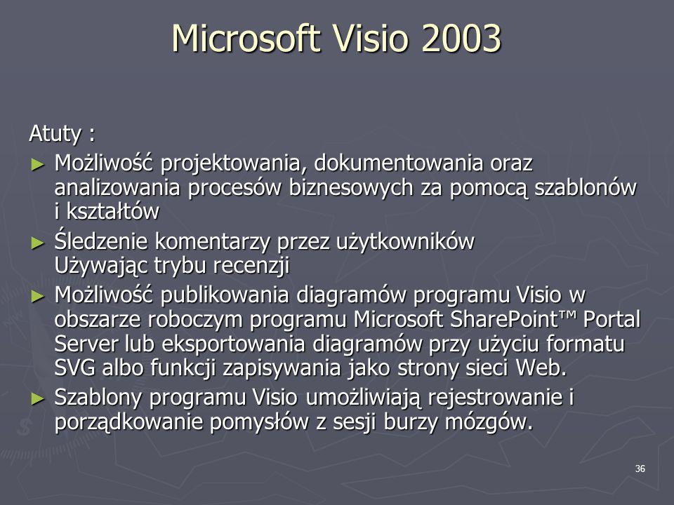 36 Microsoft Visio 2003 Atuty : ► Możliwość projektowania, dokumentowania oraz analizowania procesów biznesowych za pomocą szablonów i kształtów ► Śle