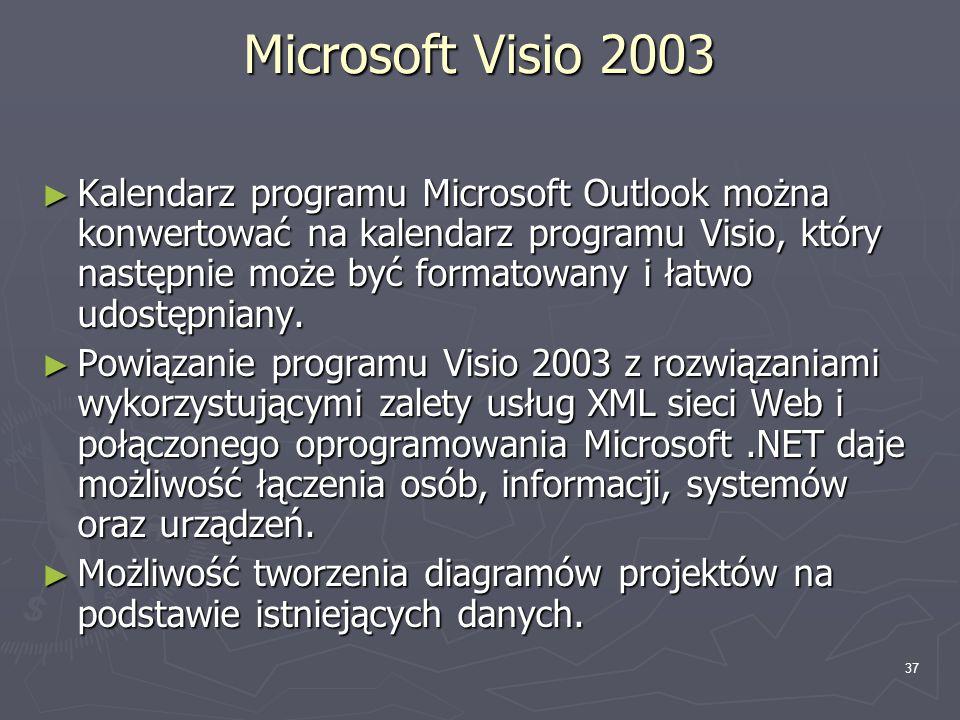 37 Microsoft Visio 2003 ► Kalendarz programu Microsoft Outlook można konwertować na kalendarz programu Visio, który następnie może być formatowany i ł