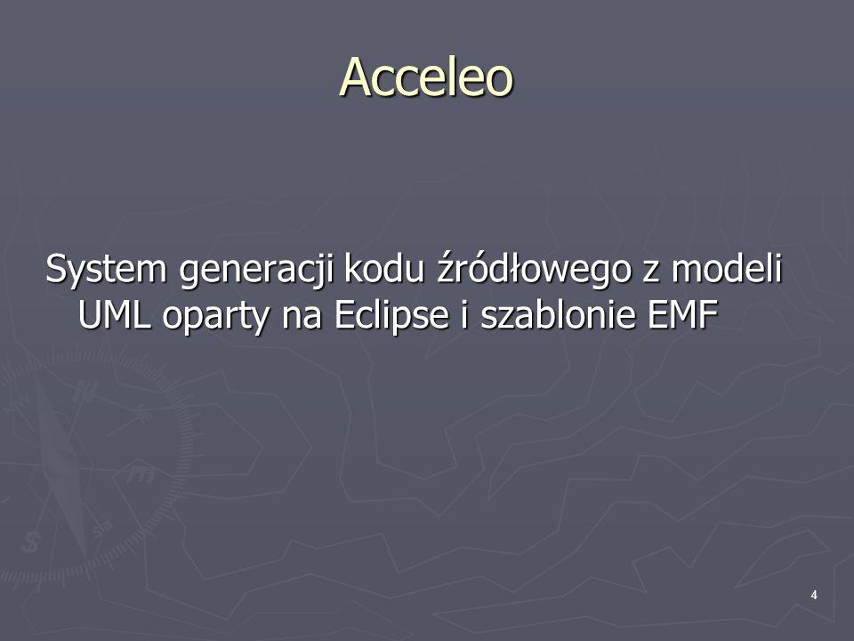 4 Acceleo System generacji kodu źródłowego z modeli UML oparty na Eclipse i szablonie EMF