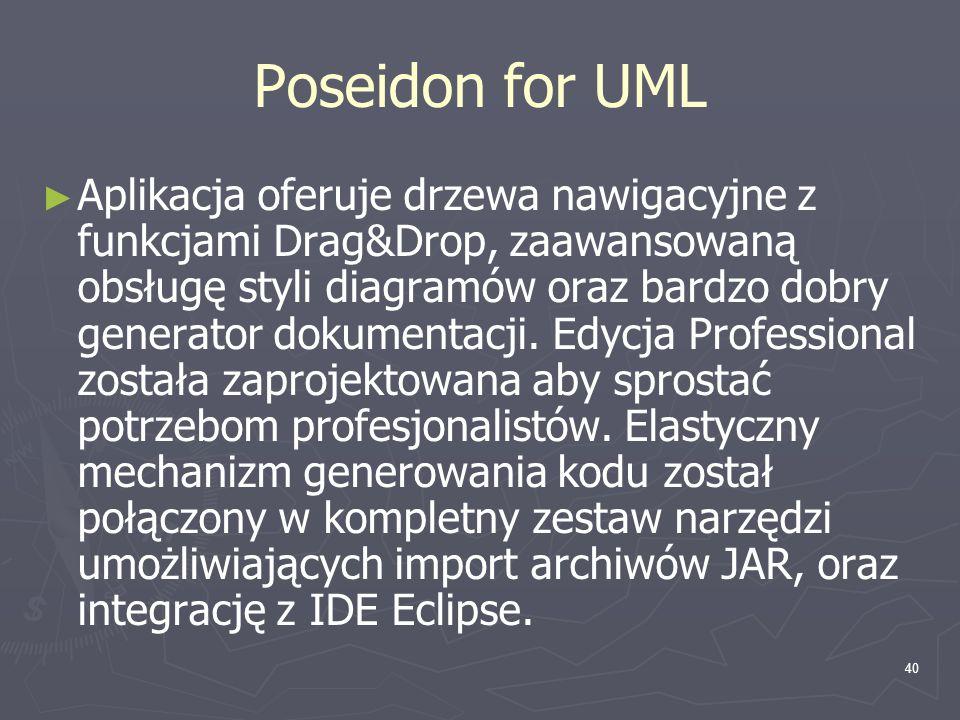40 Poseidon for UML ► ► Aplikacja oferuje drzewa nawigacyjne z funkcjami Drag&Drop, zaawansowaną obsługę styli diagramów oraz bardzo dobry generator d