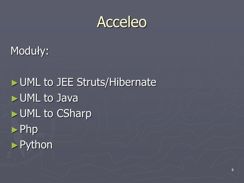 7 ArgoUML Napisany w Javie, zaawansowane generowanie kodu i podpowiedzi, ciągle rozszerzany
