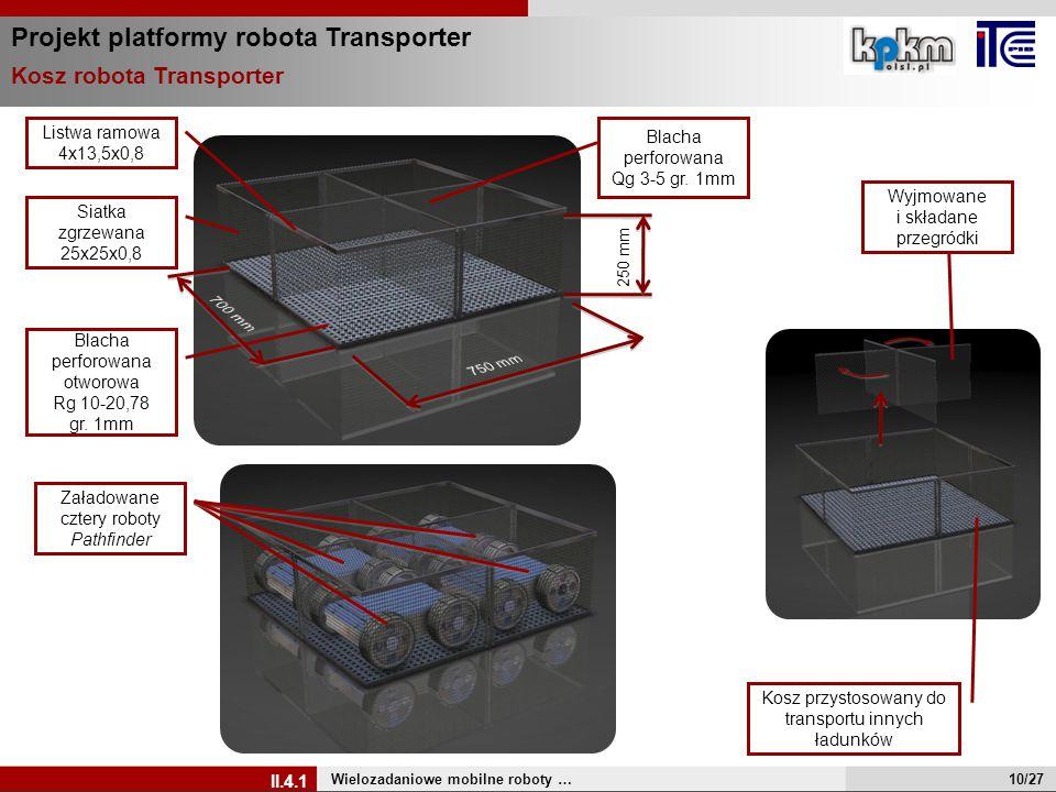 Projekt platformy robota Transporter Wielozadaniowe mobilne roboty … II.4.1 Załadowane cztery roboty Pathfinder Listwa ramowa 4x13,5x0,8 Blacha perfor