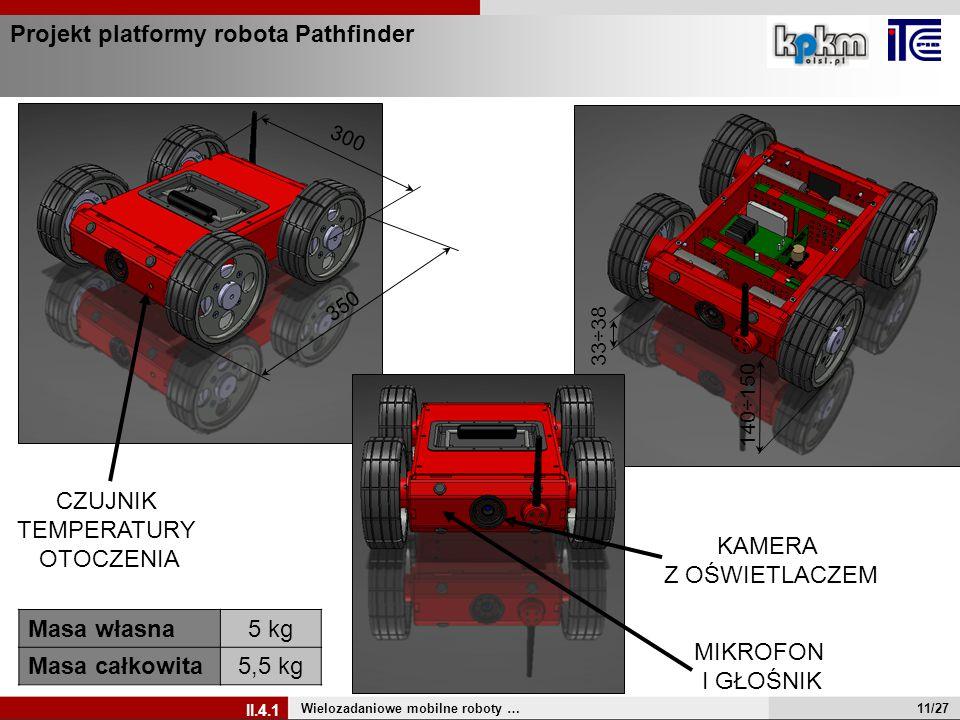 Projekt platformy robota Pathfinder Wielozadaniowe mobilne roboty … II.4.1 350 300 140÷150 33÷38 KAMERA Z OŚWIETLACZEM CZUJNIK TEMPERATURY OTOCZENIA M