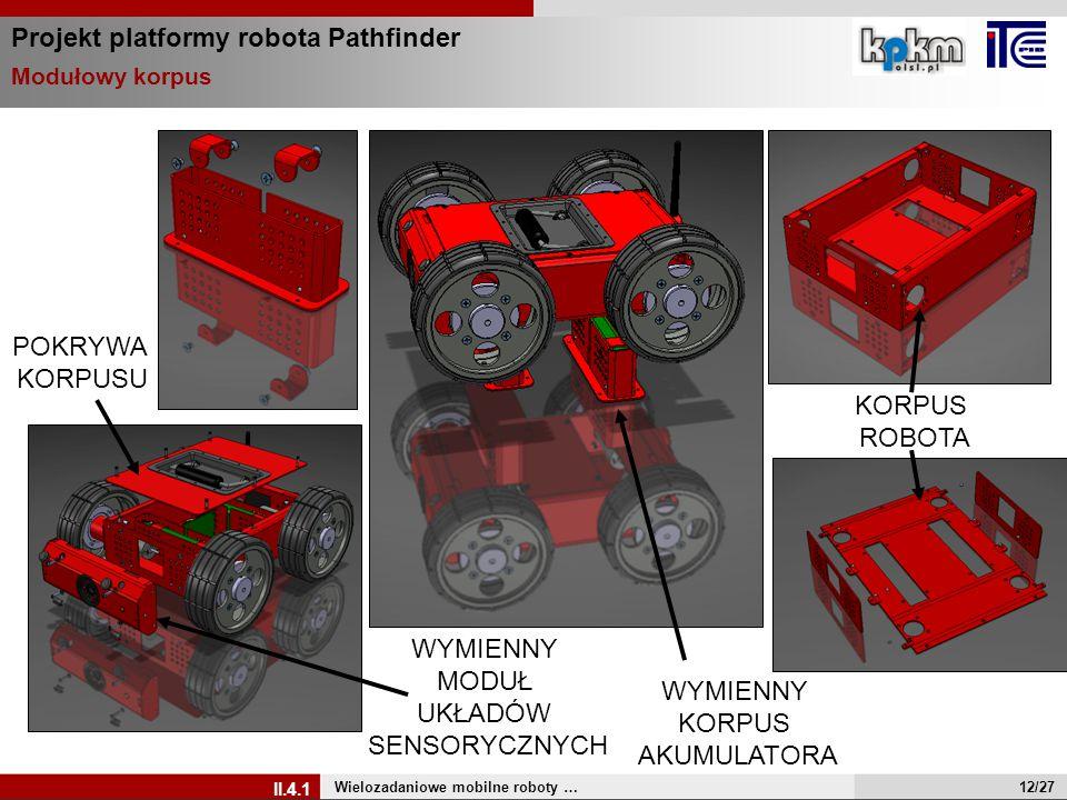 Projekt platformy robota Pathfinder Wielozadaniowe mobilne roboty … II.4.1 Modułowy korpus WYMIENNY MODUŁ UKŁADÓW SENSORYCZNYCH WYMIENNY KORPUS AKUMUL