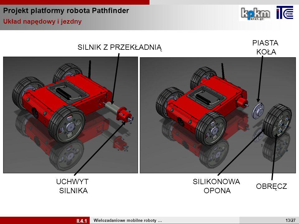 Projekt platformy robota Pathfinder Wielozadaniowe mobilne roboty … II.4.1 Układ napędowy i jezdny PIASTA KOŁA OBRĘCZ SILIKONOWA OPONA UCHWYT SILNIKA