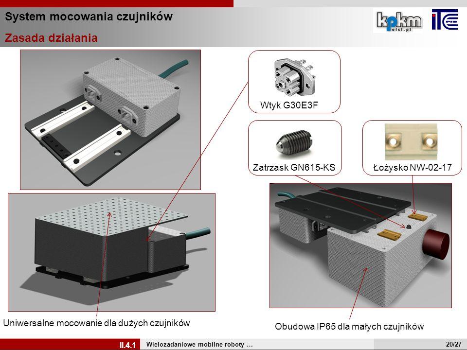 System mocowania czujników Zasada działania Wielozadaniowe mobilne roboty … II.4.1 Zatrzask GN615-KSŁożysko NW-02-17 Uniwersalne mocowanie dla dużych