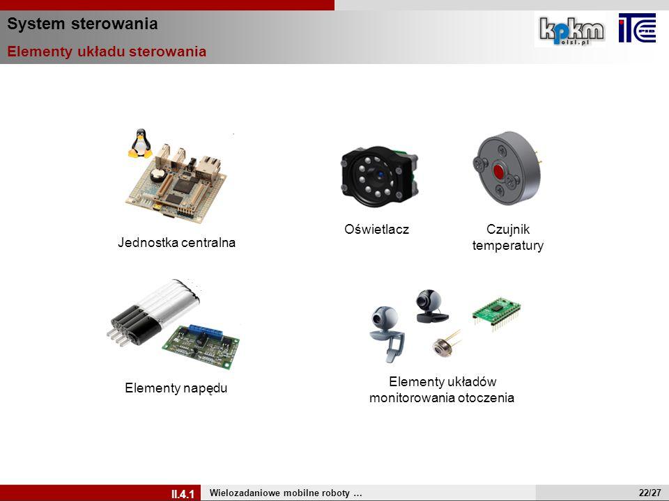 System sterowania Elementy układu sterowania Wielozadaniowe mobilne roboty … II.4.1 Oświetlacz Czujnik temperatury Elementy układów monitorowania otoc
