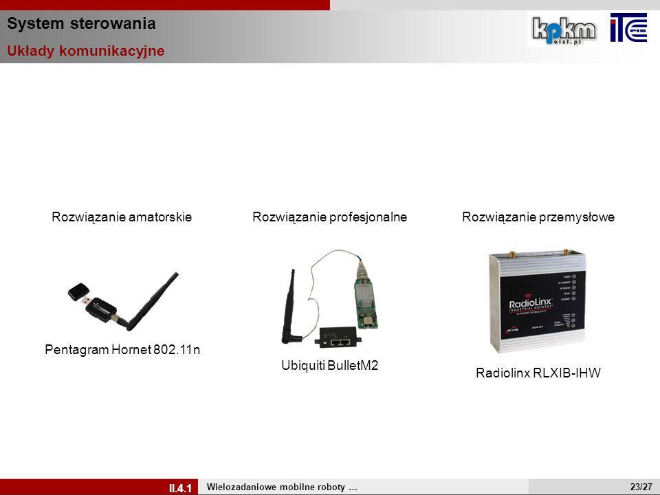 System sterowania Układy komunikacyjne Wielozadaniowe mobilne roboty … II.4.1 Pentagram Hornet 802.11n Rozwiązanie amatorskie Ubiquiti BulletM2 Rozwią