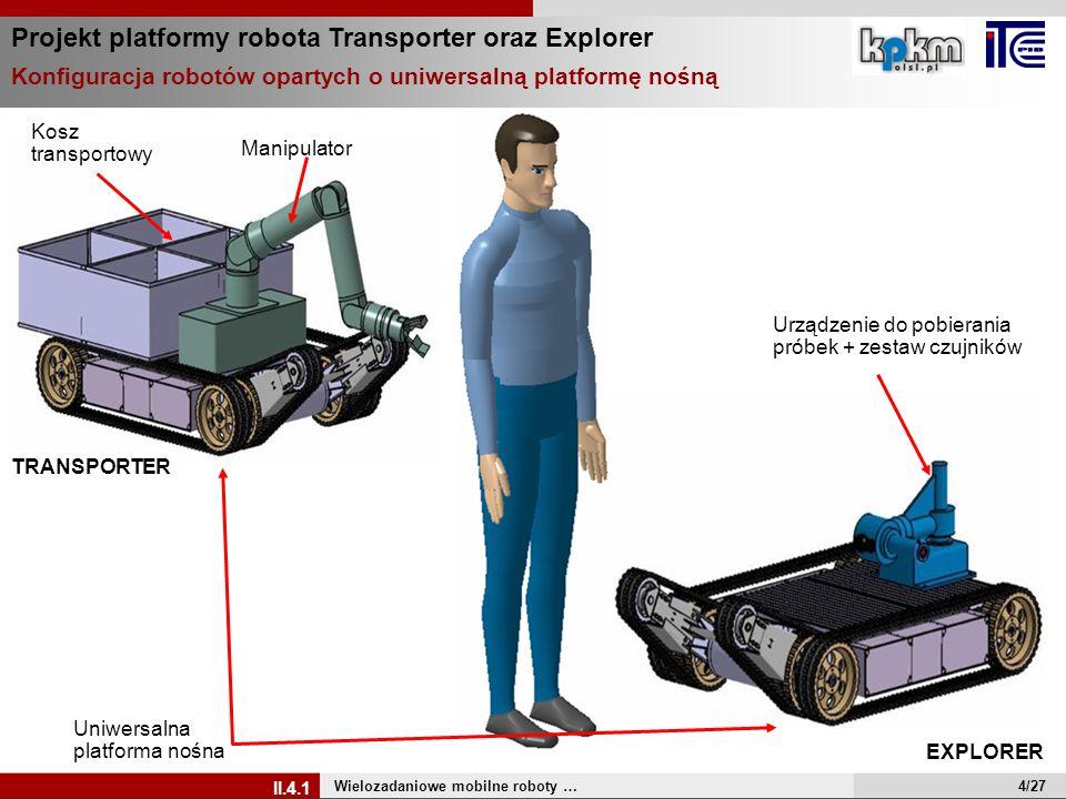 Projekt platformy robota Transporter oraz Explorer Wielozadaniowe mobilne roboty … II.4.1 Urządzenie do pobierania próbek + zestaw czujników Manipulat