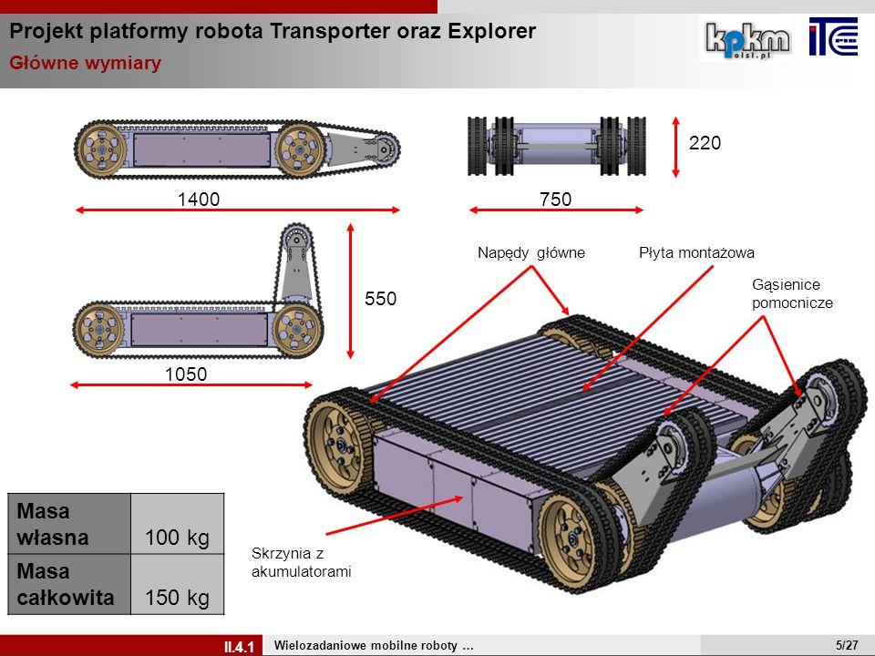 1050 550 7501400 220 Gąsienice pomocnicze Płyta montażowaNapędy główne Skrzynia z akumulatorami Masa własna100 kg Masa całkowita150 kg Projekt platfor