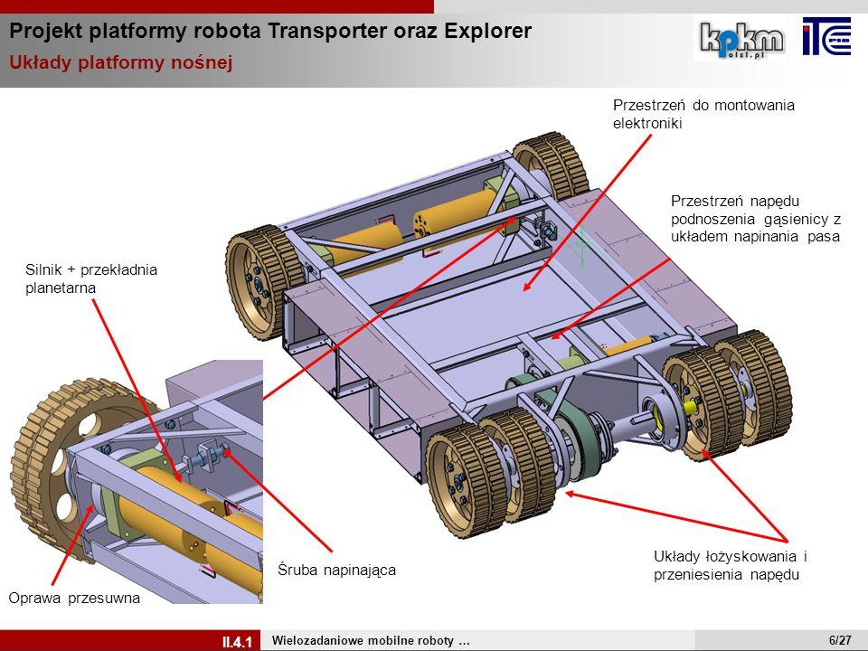 Projekt platformy robota Transporter oraz Explorer Układy platformy nośnej Wielozadaniowe mobilne roboty … II.4.1 Przestrzeń do montowania elektroniki