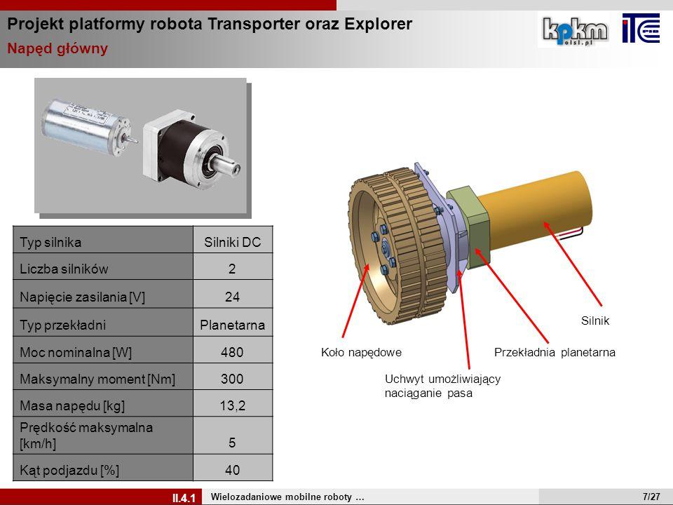Typ silnikaSilniki DC Liczba silników2 Napięcie zasilania [V]24 Typ przekładniPlanetarna Moc nominalna [W]480 Maksymalny moment [Nm]300 Masa napędu [k