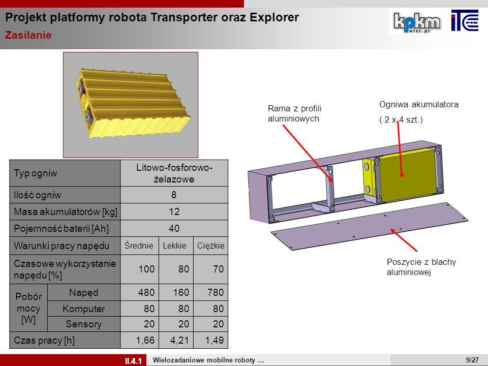 Projekt platformy robota Transporter oraz Explorer Zasilanie Wielozadaniowe mobilne roboty … II.4.1 Rama z profili aluminiowych Poszycie z blachy alum