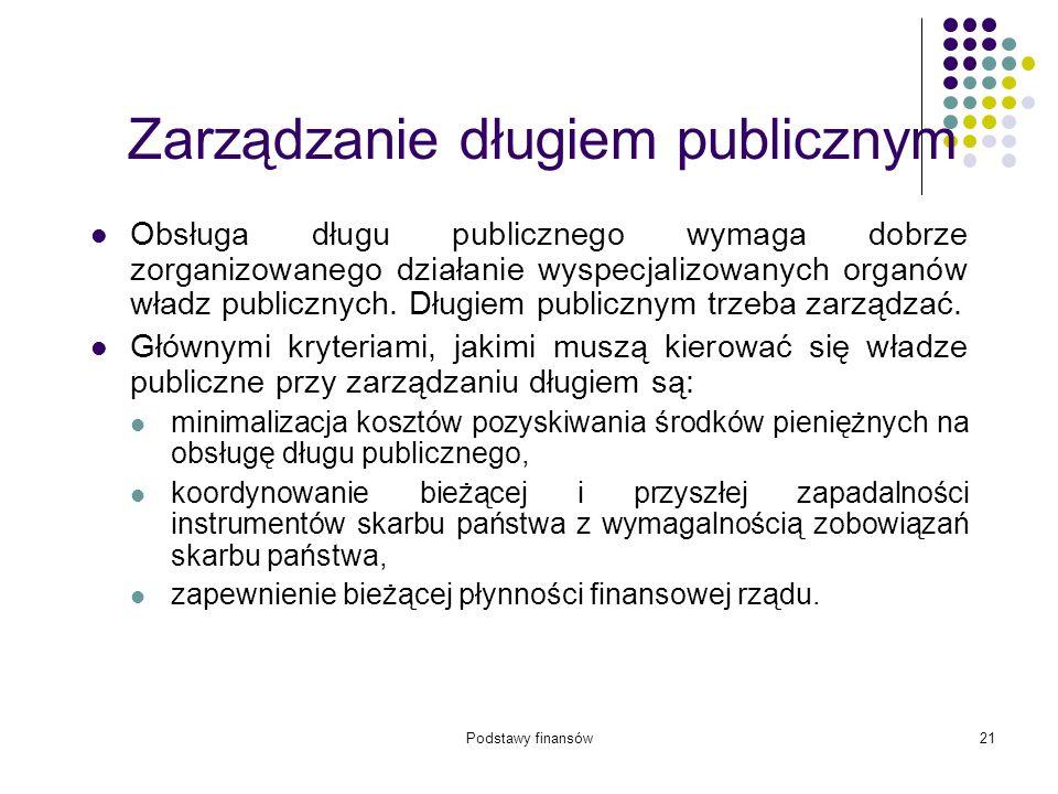 Podstawy finansów21 Zarządzanie długiem publicznym Obsługa długu publicznego wymaga dobrze zorganizowanego działanie wyspecjalizowanych organów władz