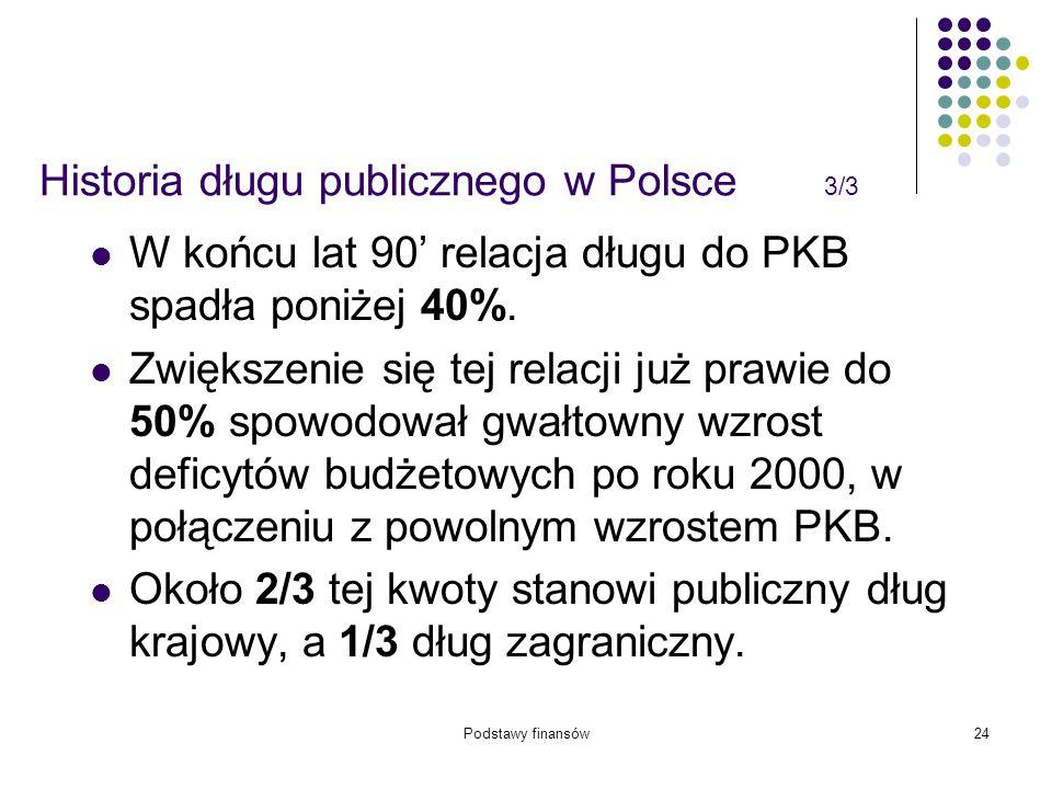Podstawy finansów24 Historia długu publicznego w Polsce 3/3 W końcu lat 90' relacja długu do PKB spadła poniżej 40%. Zwiększenie się tej relacji już p