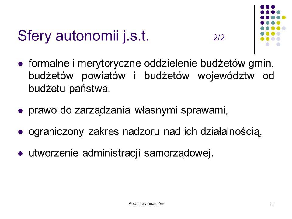 Podstawy finansów38 Sfery autonomii j.s.t. 2/2 formalne i merytoryczne oddzielenie budżetów gmin, budżetów powiatów i budżetów województw od budżetu p