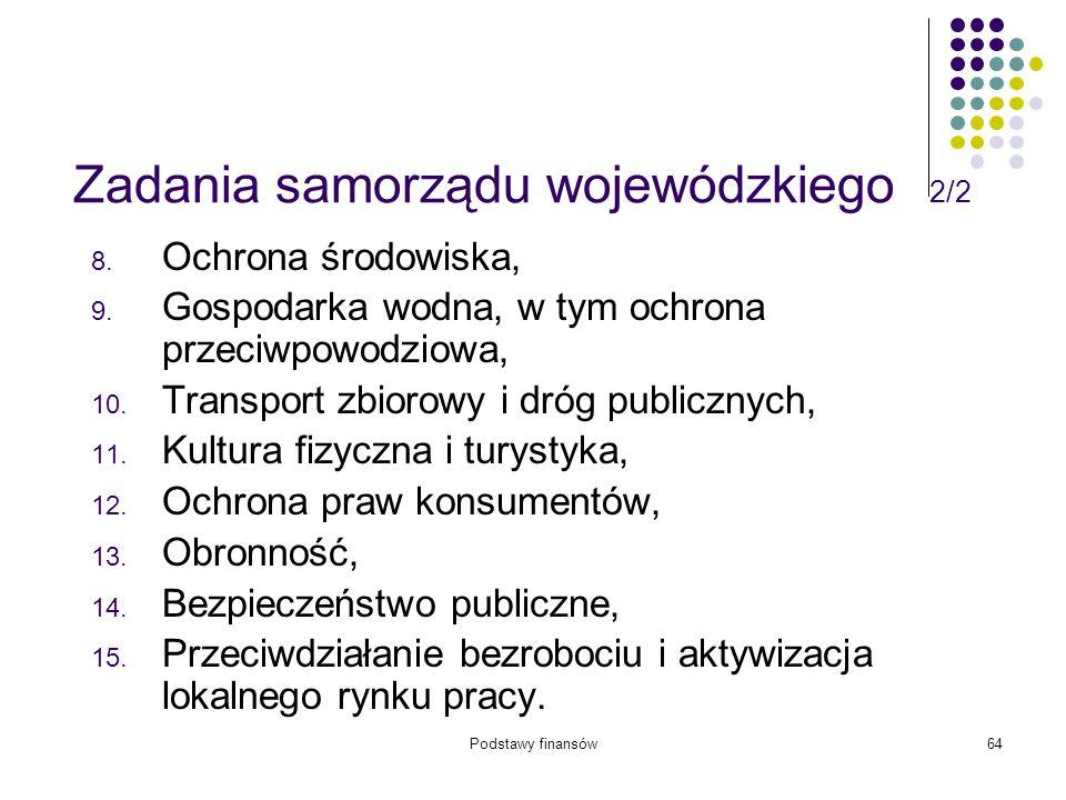 Podstawy finansów64 Zadania samorządu wojewódzkiego 2/2 8. Ochrona środowiska, 9. Gospodarka wodna, w tym ochrona przeciwpowodziowa, 10. Transport zbi