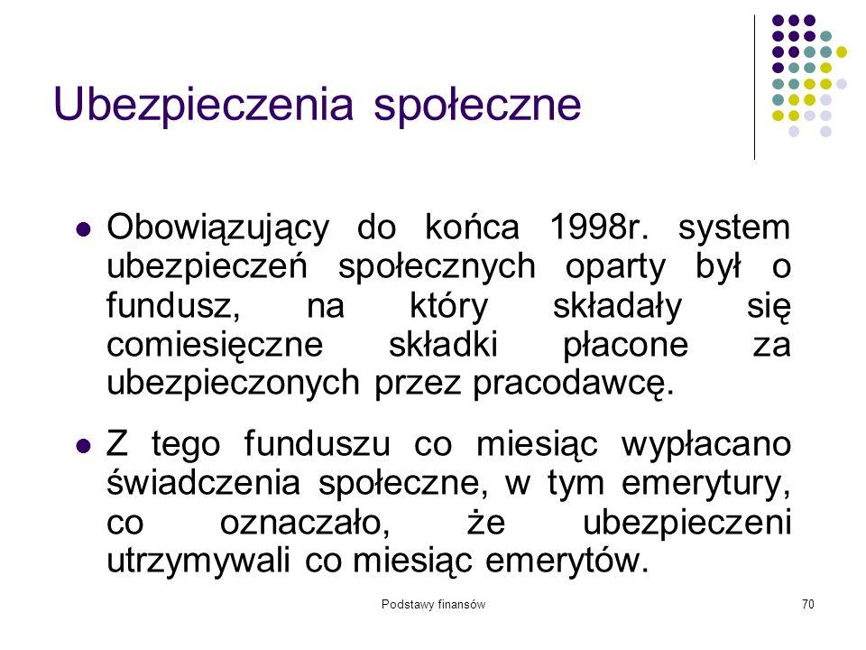 Podstawy finansów70 Ubezpieczenia społeczne Obowiązujący do końca 1998r. system ubezpieczeń społecznych oparty był o fundusz, na który składały się co