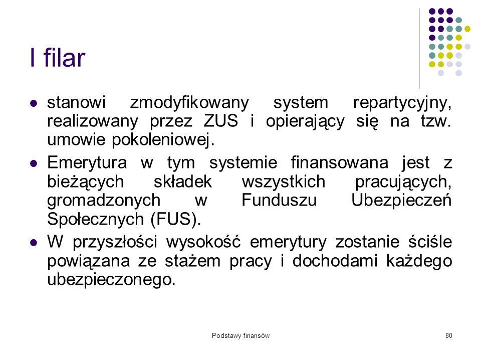 Podstawy finansów80 I filar stanowi zmodyfikowany system repartycyjny, realizowany przez ZUS i opierający się na tzw. umowie pokoleniowej. Emerytura w