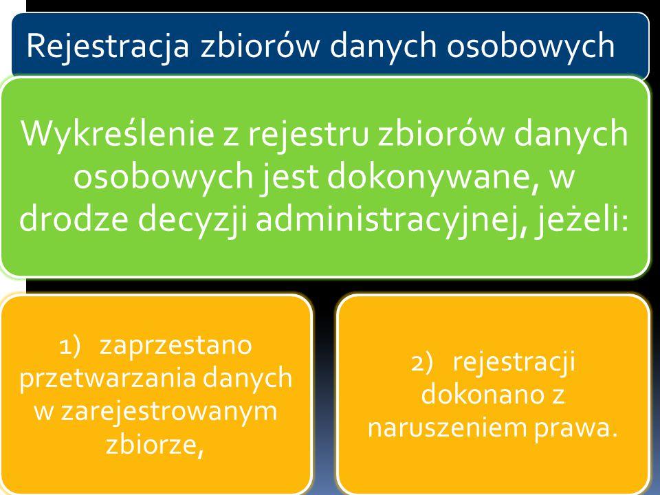 Rejestracja zbiorów danych osobowych Wykreślenie z rejestru zbiorów danych osobowych jest dokonywane, w drodze decyzji administracyjnej, jeżeli: 1) za