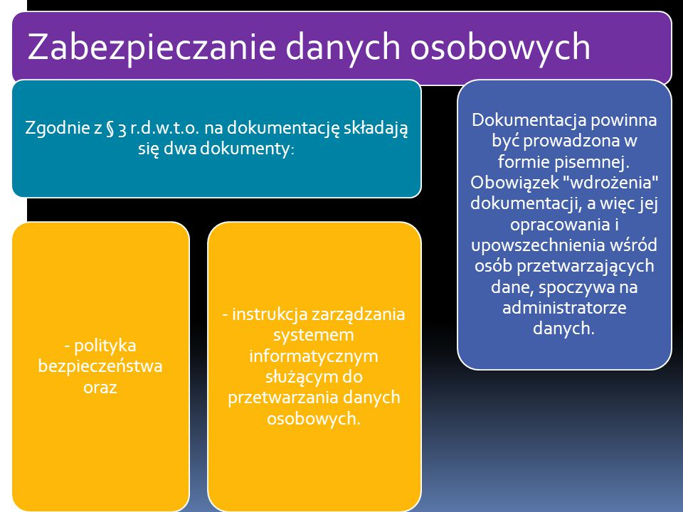 Zabezpieczanie danych osobowych Zgodnie z § 3 r.d.w.t.o. na dokumentację składają się dwa dokumenty: - polityka bezpieczeństwa oraz - instrukcja zarzą