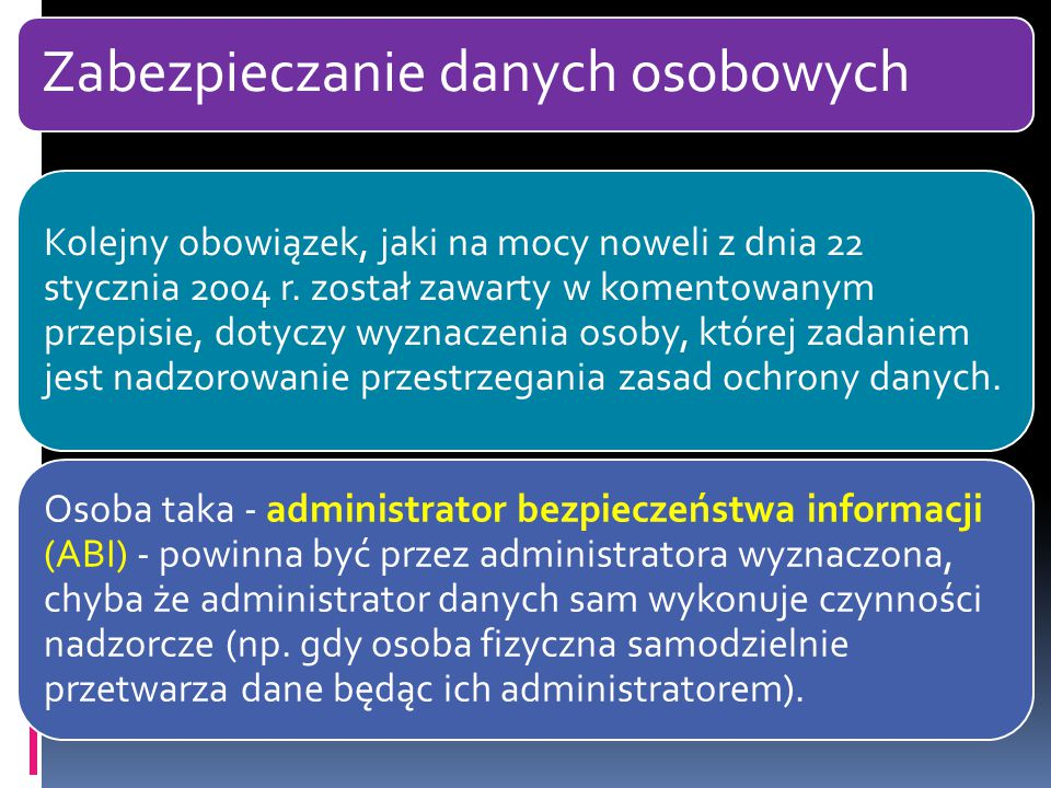 Zabezpieczanie danych osobowych Kolejny obowiązek, jaki na mocy noweli z dnia 22 stycznia 2004 r. został zawarty w komentowanym przepisie, dotyczy wyz