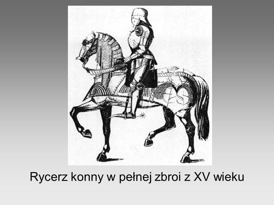 Rycerz konny w pełnej zbroi z XV wieku