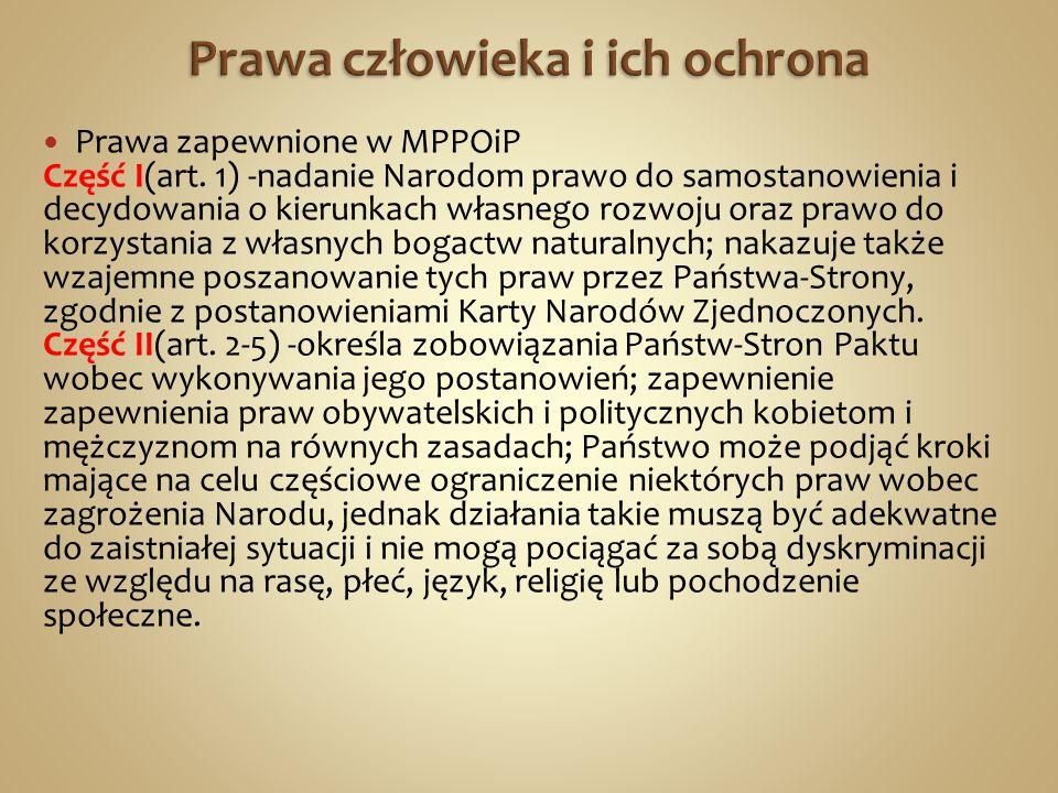 Prawa zapewnione w MPPOiP Część I(art.