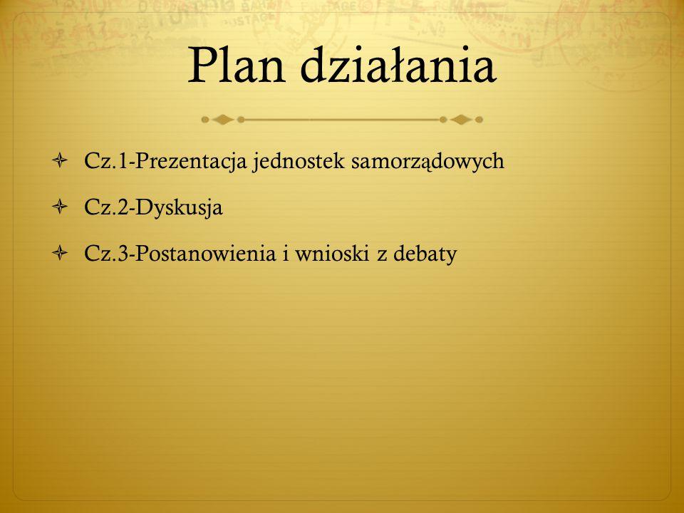 Plan dzia ł ania  Cz.1-Prezentacja jednostek samorz ą dowych  Cz.2-Dyskusja  Cz.3-Postanowienia i wnioski z debaty