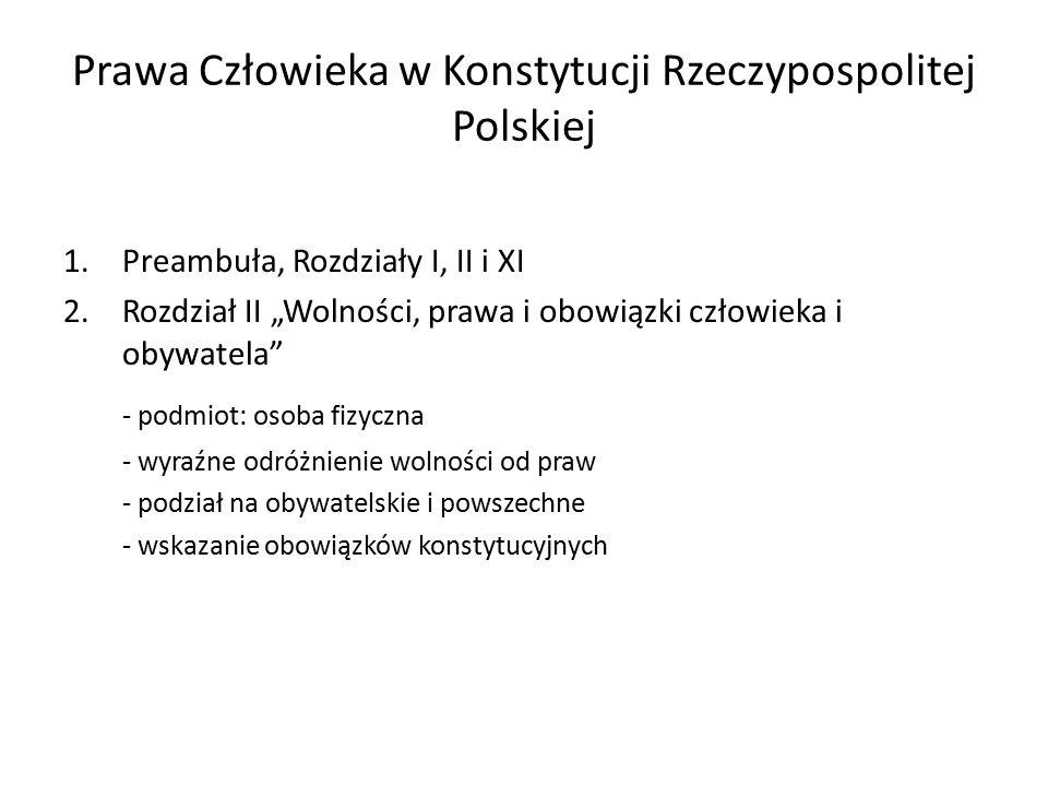 """Prawa Człowieka w Konstytucji Rzeczypospolitej Polskiej 1.Preambuła, Rozdziały I, II i XI 2.Rozdział II """"Wolności, prawa i obowiązki człowieka i obywa"""