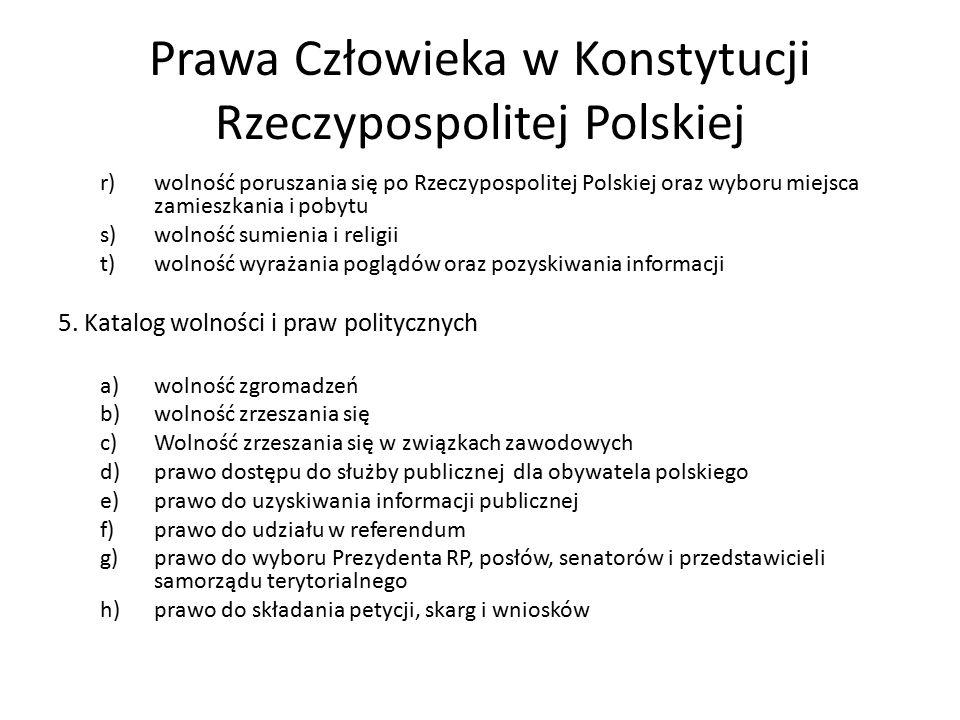 Prawa Człowieka w Konstytucji Rzeczypospolitej Polskiej r)wolność poruszania się po Rzeczypospolitej Polskiej oraz wyboru miejsca zamieszkania i pobyt