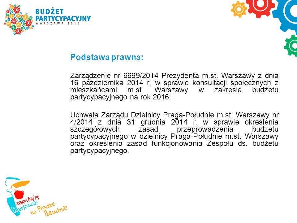 Podstawa prawna: Zarządzenie nr 6699/2014 Prezydenta m.st. Warszawy z dnia 16 października 2014 r. w sprawie konsultacji społecznych z mieszkańcami m.