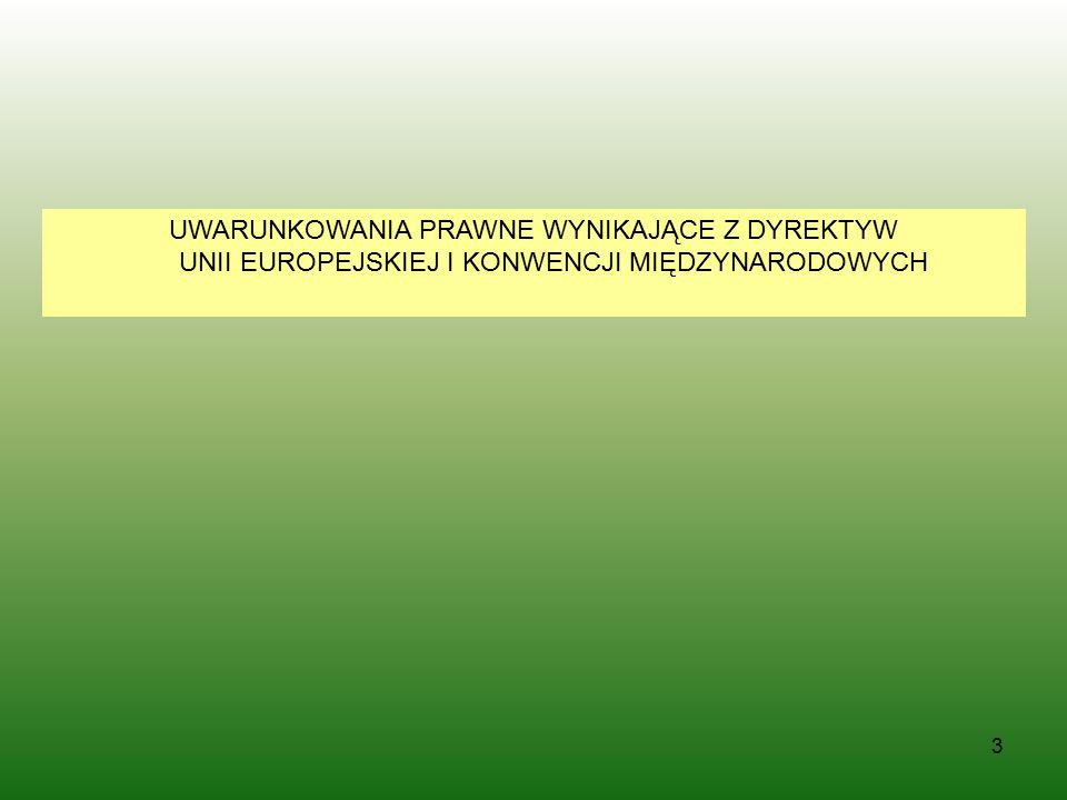 3 UWARUNKOWANIA PRAWNE WYNIKAJĄCE Z DYREKTYW UNII EUROPEJSKIEJ I KONWENCJI MIĘDZYNARODOWYCH