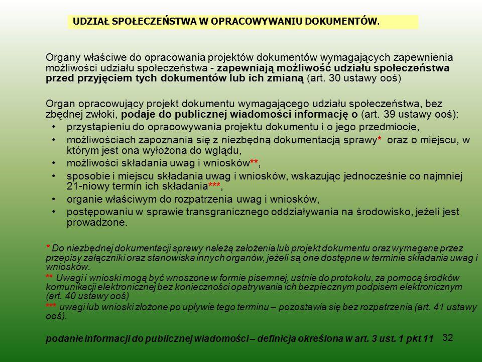 32 Organy właściwe do opracowania projektów dokumentów wymagających zapewnienia możliwości udziału społeczeństwa - zapewniają możliwość udziału społec