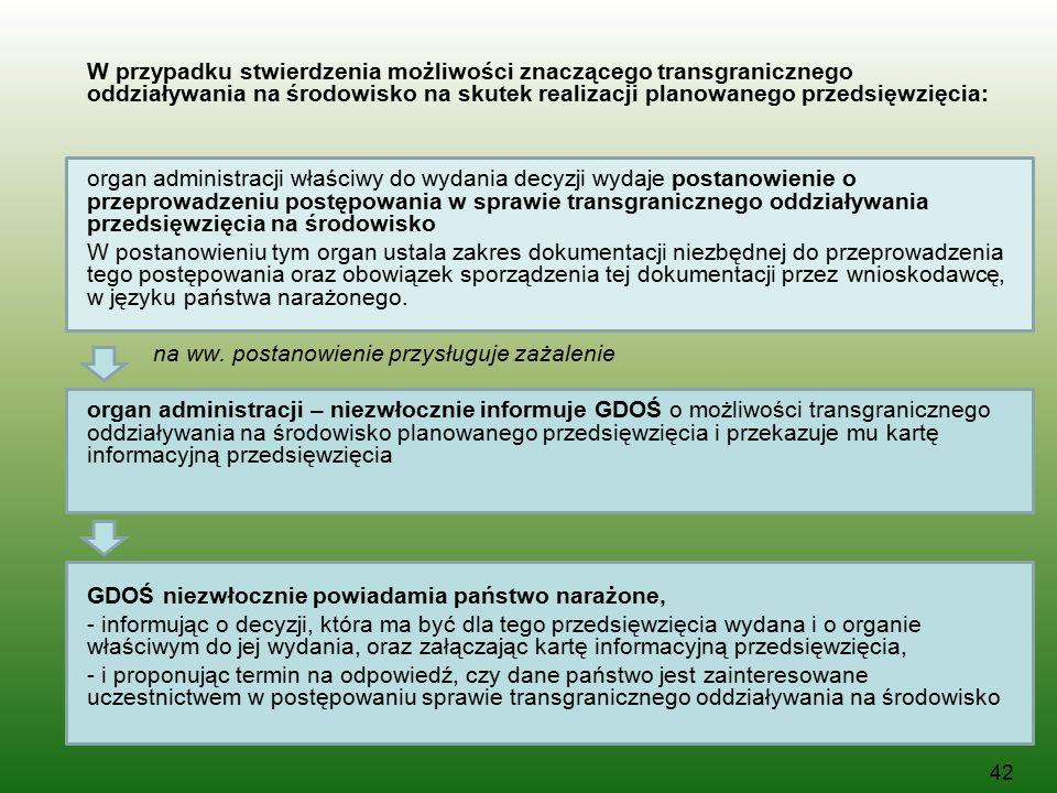 W przypadku stwierdzenia możliwości znaczącego transgranicznego oddziaływania na środowisko na skutek realizacji planowanego przedsięwzięcia: organ ad