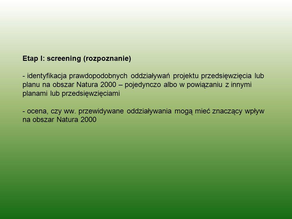 Etap I: screening (rozpoznanie) - identyfikacja prawdopodobnych oddziaływań projektu przedsięwzięcia lub planu na obszar Natura 2000 – pojedynczo albo