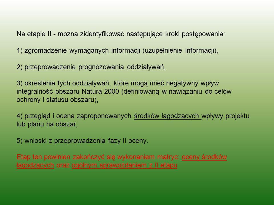 Na etapie II - można zidentyfikować następujące kroki postępowania: 1) zgromadzenie wymaganych informacji (uzupełnienie informacji), 2) przeprowadzeni