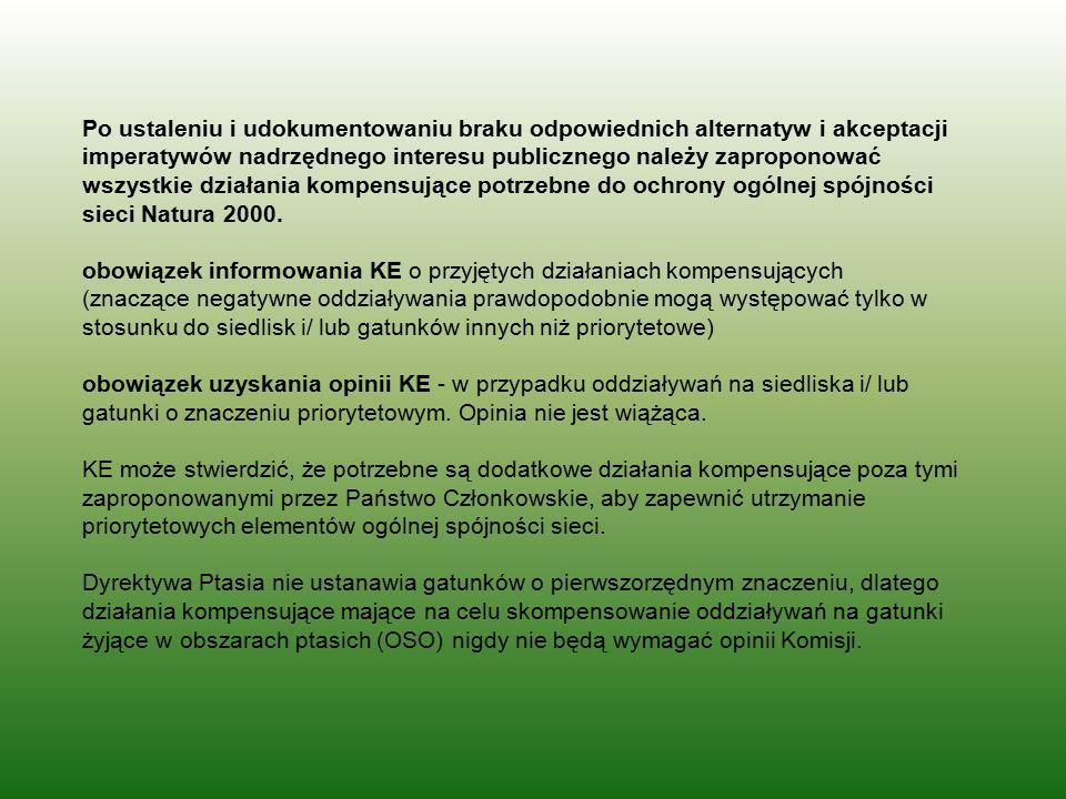 Po ustaleniu i udokumentowaniu braku odpowiednich alternatyw i akceptacji imperatywów nadrzędnego interesu publicznego należy zaproponować wszystkie d