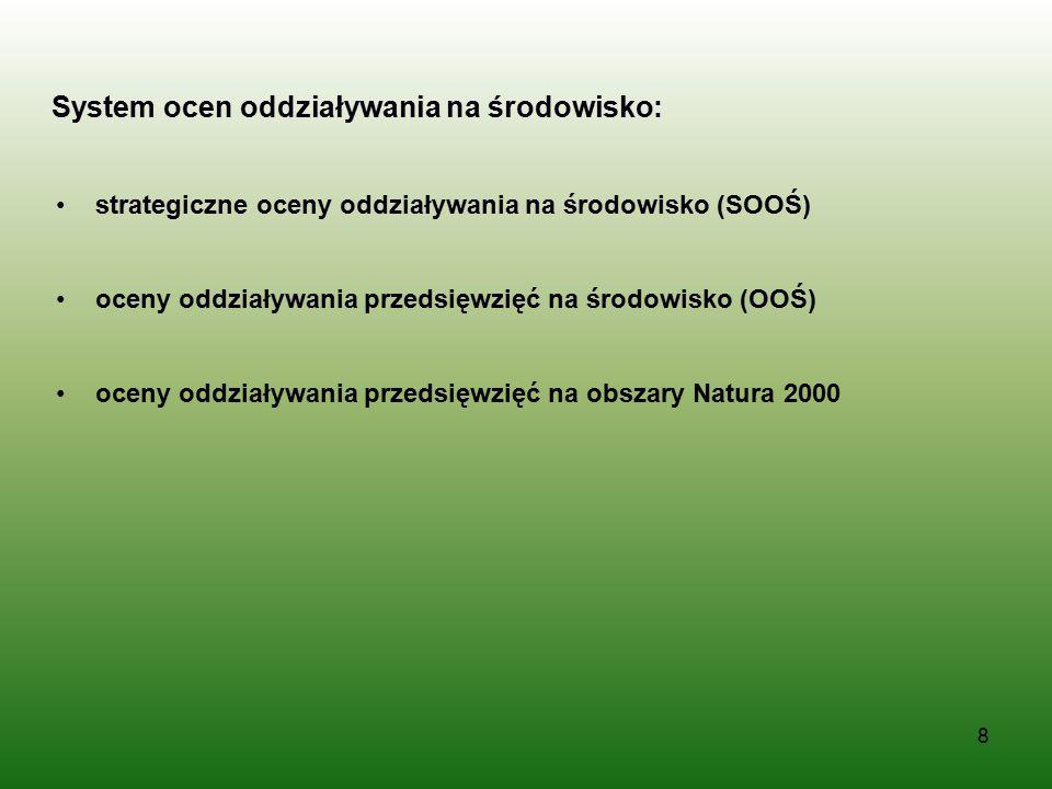 System ocen oddziaływania na środowisko: strategiczne oceny oddziaływania na środowisko (SOOŚ) oceny oddziaływania przedsięwzięć na środowisko (OOŚ) o