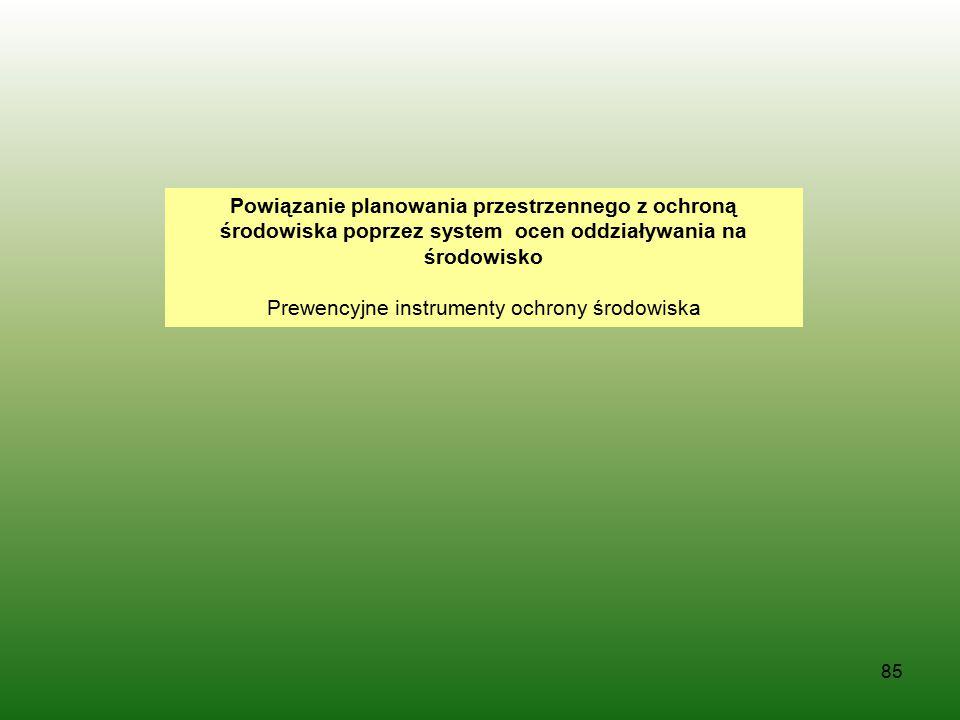 85 Powiązanie planowania przestrzennego z ochroną środowiska poprzez system ocen oddziaływania na środowisko Prewencyjne instrumenty ochrony środowisk