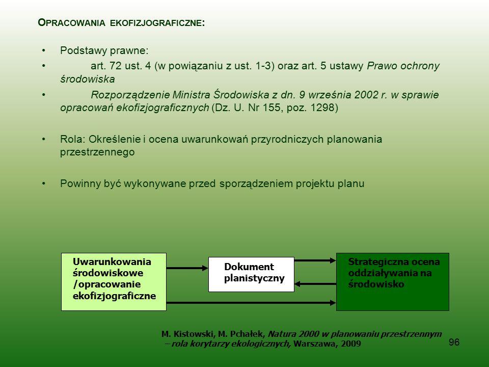 96 Uwarunkowania środowiskowe /opracowanie ekofizjograficzne Dokument planistyczny O PRACOWANIA EKOFIZJOGRAFICZNE : Podstawy prawne: art. 72 ust. 4 (w
