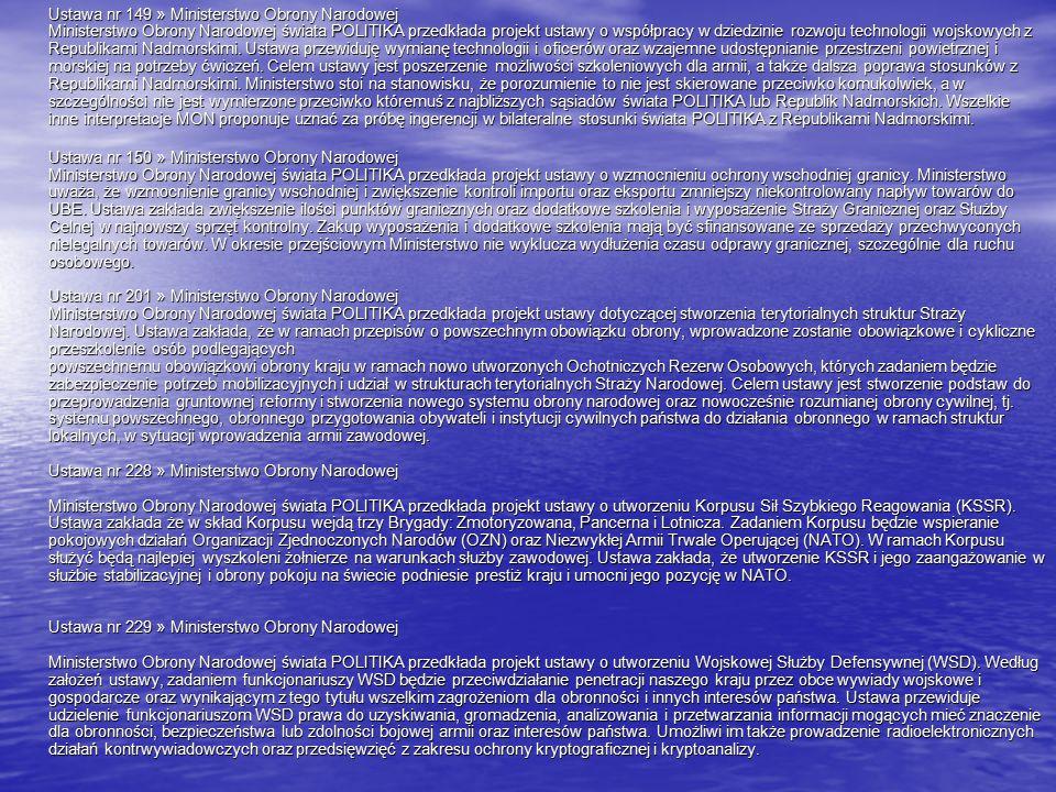 Ustawa nr 149 » Ministerstwo Obrony Narodowej Ministerstwo Obrony Narodowej świata POLITIKA przedkłada projekt ustawy o współpracy w dziedzinie rozwoju technologii wojskowych z Republikami Nadmorskimi.