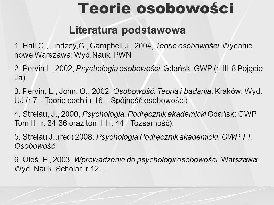 Teorie osobowości Literatura podstawowa 1.