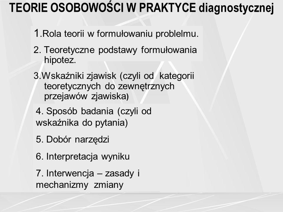 TEORIE OSOBOWOŚCI W PRAKTYCE diagnostycznej 1.Rola teorii w formułowaniu problelmu.