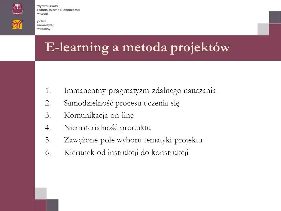 E-learning a metoda projektów 1.Immanentny pragmatyzm zdalnego nauczania 2.Samodzielność procesu uczenia się 3.Komunikacja on-line 4.Niematerialność produktu 5.Zawężone pole wyboru tematyki projektu 6.Kierunek od instrukcji do konstrukcji