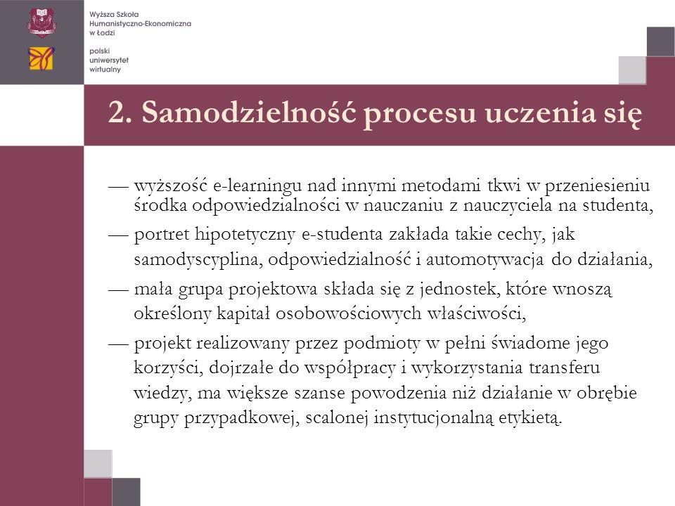 2. Samodzielność procesu uczenia się — wyższość e-learningu nad innymi metodami tkwi w przeniesieniu środka odpowiedzialności w nauczaniu z nauczyciel