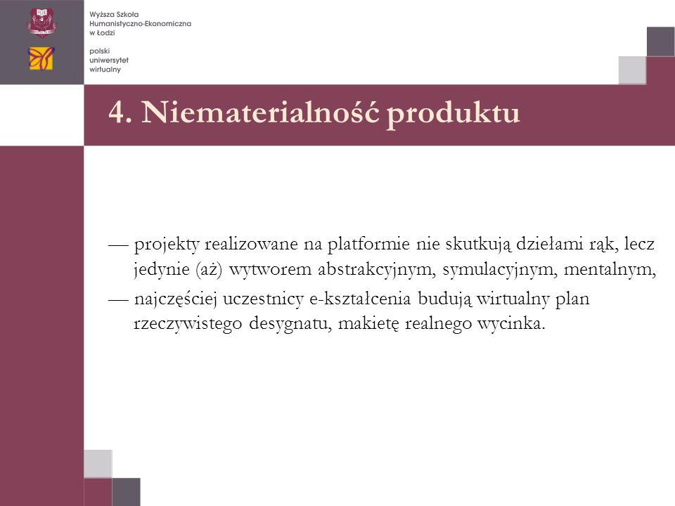 4. Niematerialność produktu — projekty realizowane na platformie nie skutkują dziełami rąk, lecz jedynie (aż) wytworem abstrakcyjnym, symulacyjnym, me