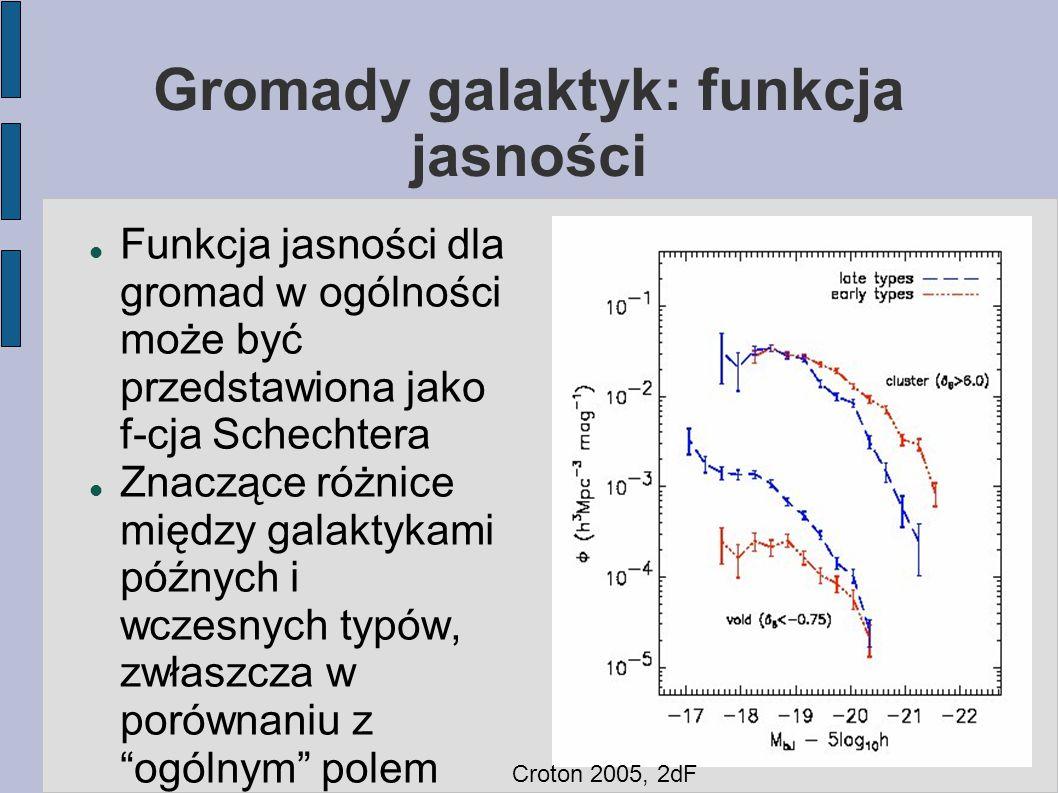 Gromady galaktyk: funkcja jasności Funkcja jasności dla gromad w ogólności może być przedstawiona jako f-cja Schechtera Znaczące różnice między galakt