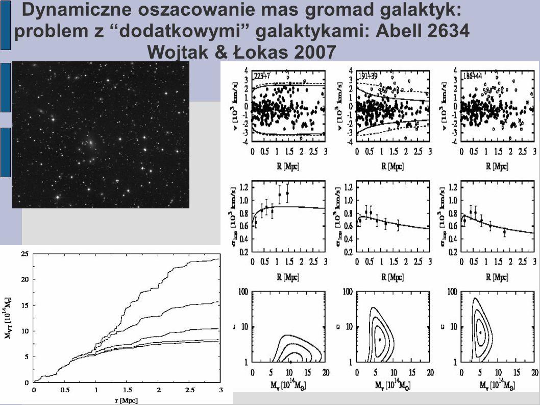 """Dynamiczne oszacowanie mas gromad galaktyk: problem z """"dodatkowymi"""" galaktykami: Abell 2634 Wojtak & Łokas 2007"""